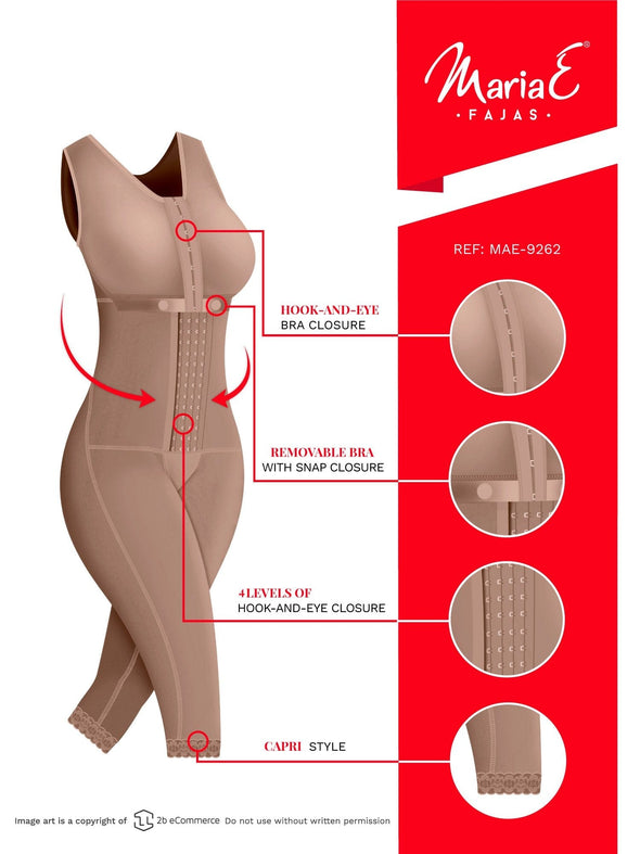 Postpartum Full Body Shaper to the Knee w/ Hooks & Bra Fajas MariaE 9262