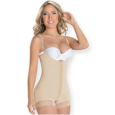 compression shapewear with hooks fajas myd colombian shapewear beige mid thigh
