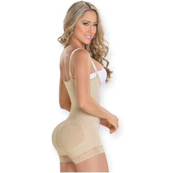 butt lifting shapewear with hooks beige mid thigh