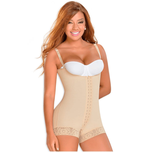 mid thigh compression shapewear with center hooks colombian fajas