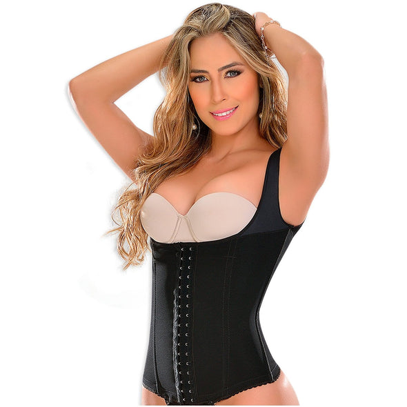 black powernet waist cincher vest with center hooks