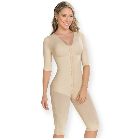 Full Body Shaper to the knee with sleeves by Fajas MyD 0161