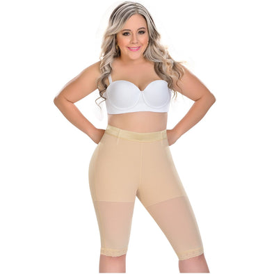 blonde thick woman wearing fajas myd plus size beige butt lifter to the knee short