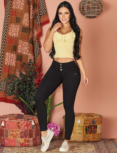 colombian dark black hair woman with yellow top and black butt lift pants with sneakers