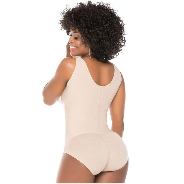 black afro latina with wide strap vest faja shaper with shorts