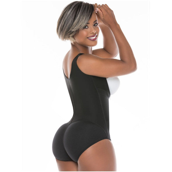 black woman with big butt wearing body shaper faja with panty and short hair