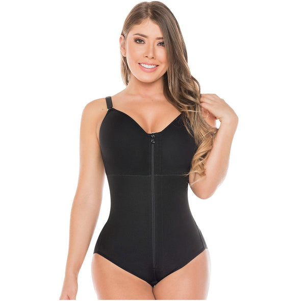 dark brown latina with bodysuit faja with bra included with zipper