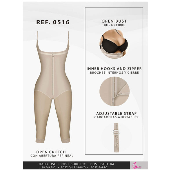 Full Length to the Knee Body Shaper w/ Vest Straps Fajas Salome 516