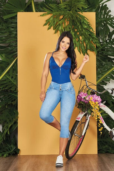 'Beachy' Push up Capri Jeans Levanta Cola 10728