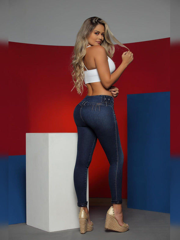 back view butt lift colombian jeans skinny fit with white crop top and wedge high heels