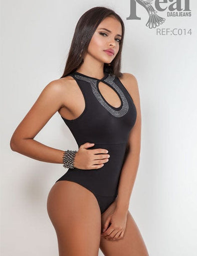 Black Keyhole Studded Thong Shapewear Bodysuit C014