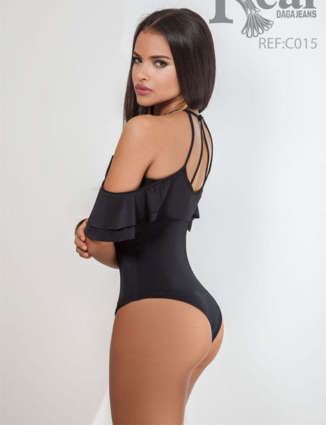 Black Off-Shoulder Mesh Thong Shapewear Bodysuit C015