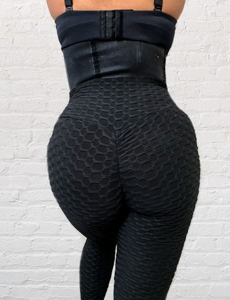 Model Wearing Colombiana Boutique's 'Magic Cola' Textured Butt Lift Leggings w/ Scrunch Booty Black