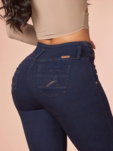 up close dark wash butt lift colombian jeans mid waist