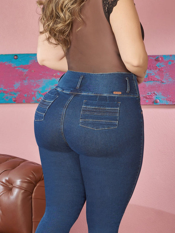 back view plus size colombian jeans wide pockets