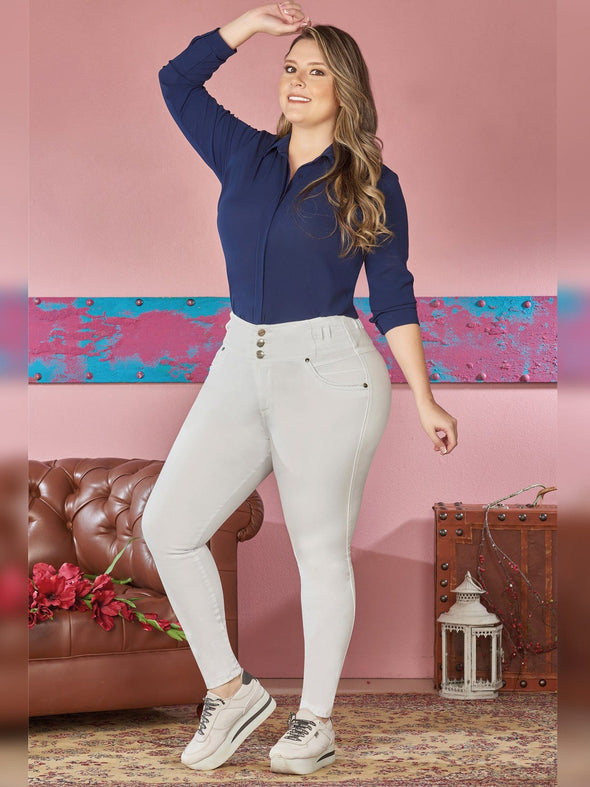 plus size colombian model skinny fit navy blouse button up with sneakers'