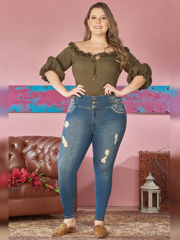 plus size colombian woman skinny jeans olive bodysuit