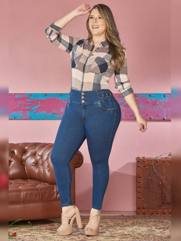 plus size woman outfit with nude heels and flannel blouse