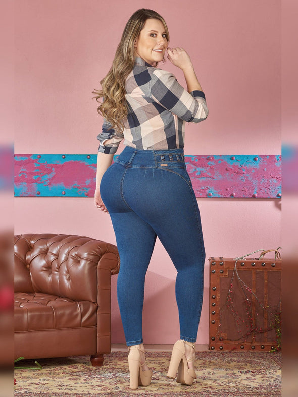 back view dark wash skinny jeans with nude high heels checkered blouse