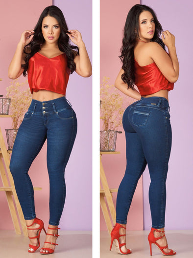dark wash jeans butt lift jeans with red high heels and red silk top