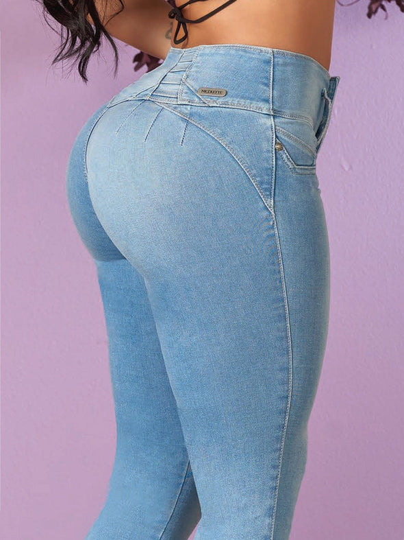 light wash blue butt lift jeans up close