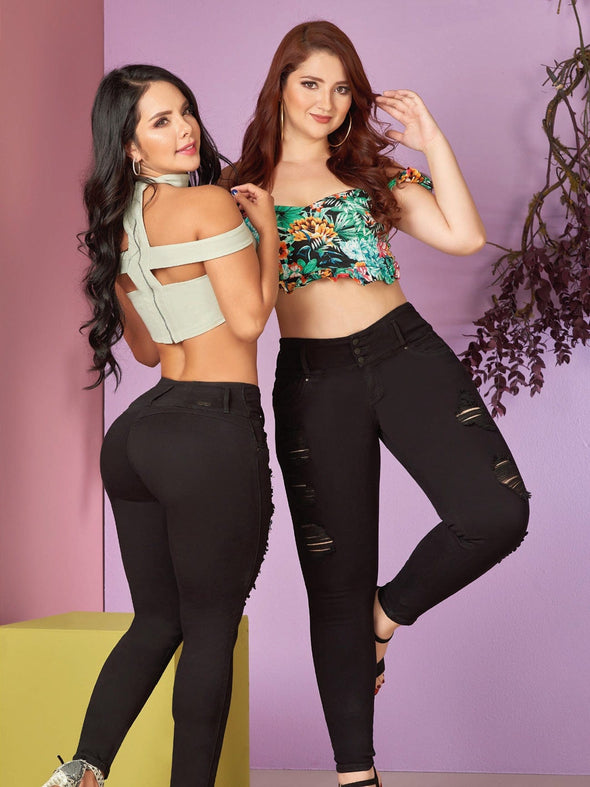 two colombian women wearing black butt lift distress jeans