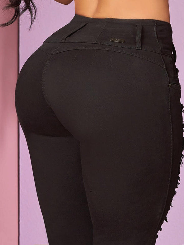 up close view colombian butt lifting black jeans