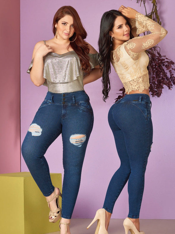two colombian models wearing butt lift jeans and distressed thighs with nude heels