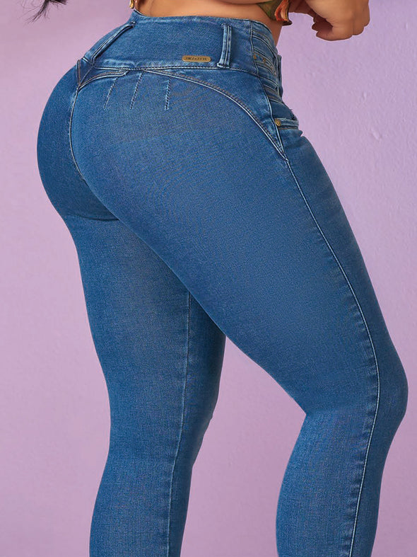 up close view of medium blue jeans and heart shape booty stitching