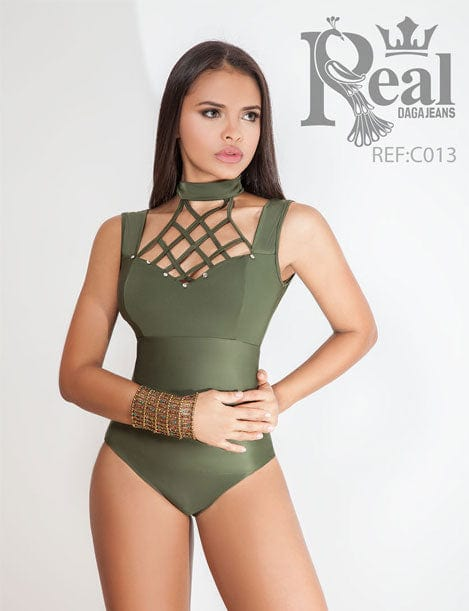 Army Green High Neck Studded Thong Shapewear Bodysuit C013