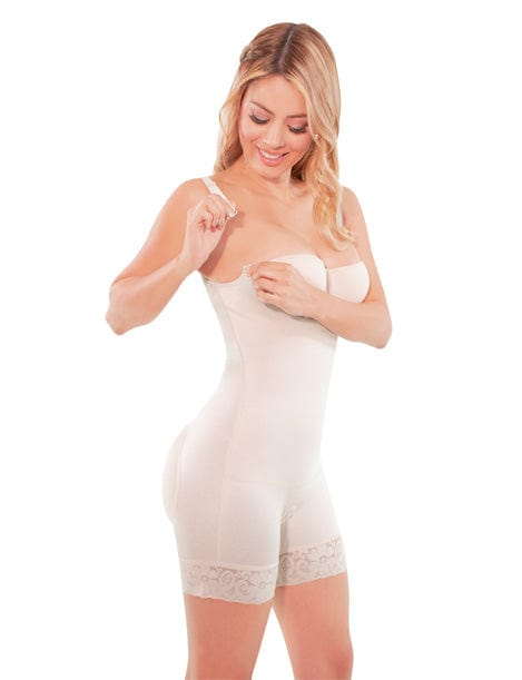 strapless body shaper mid thigh shapewear beige