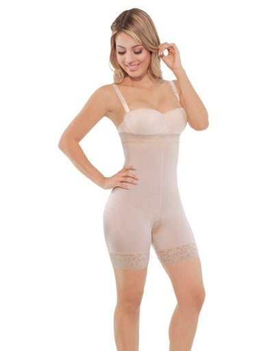 compression shapewear easy to put on, seamless bodysuit beige