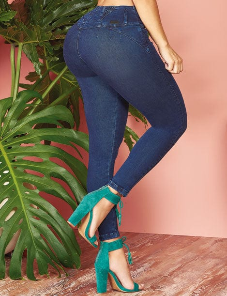 up close view colombian butt lift jeans with turquoise heels