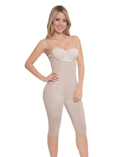 beige under knee colombian faja shapewear with adjustable straps