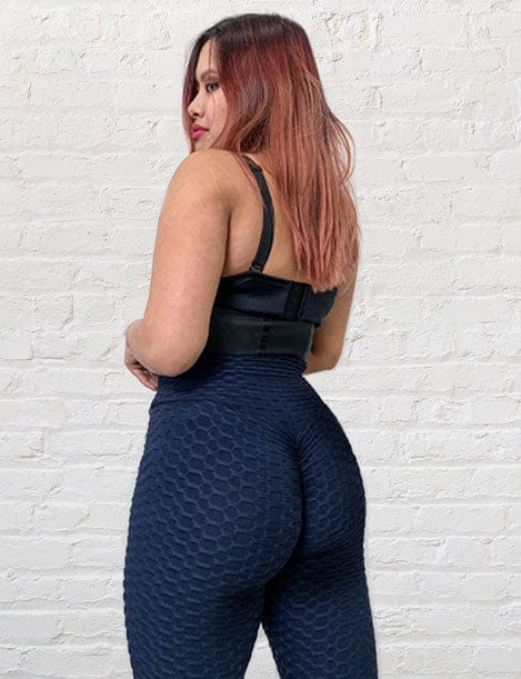 "'Magic Cola"" Textured Butt Lift Leggings w/ Scrunch Booty Navy"