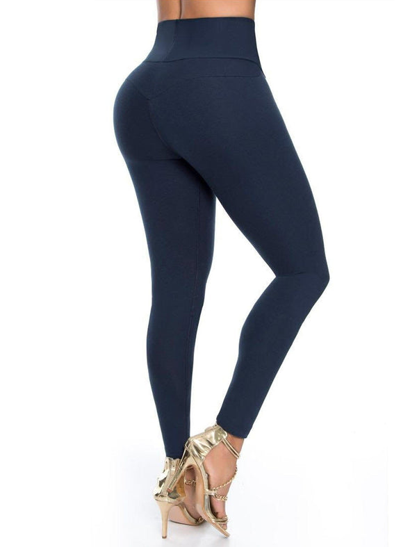 navy blue leggings levanta cola with butt lift and gold heels