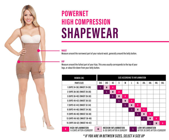 high compression powernet size chart nicolette shapewear