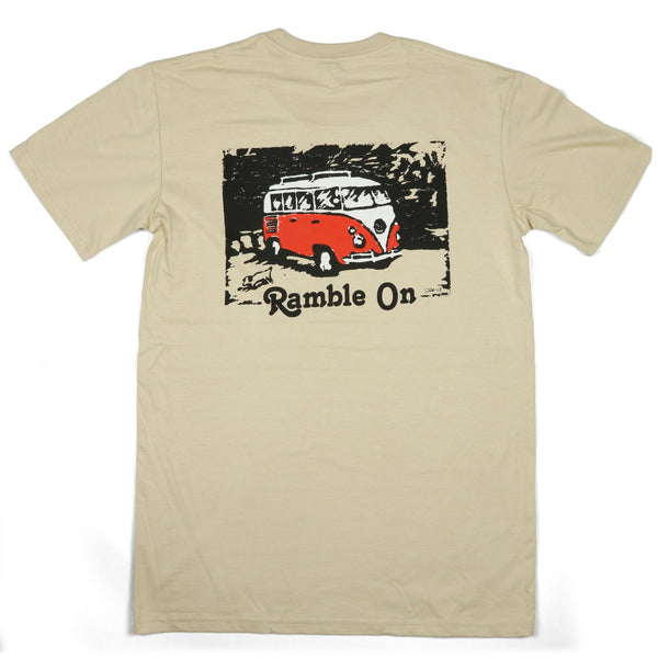 """Ramble On"" Men's 100% Rinspun Cotton Short Sleeve Tee (Back Print)"