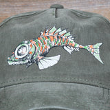 """Fish"" Garment Washed 100% Cotton Cap - Hook & Loop Closure"