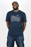 """Bike Maze"" Men's 100% Ringspun Cotton Short Sleeve Tee in Navy"