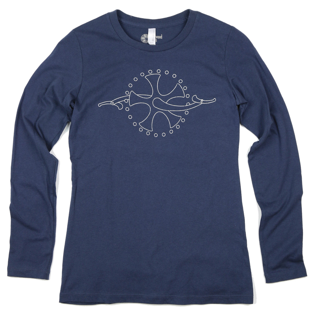 """Chainring"" Women's 100% Cotton Long Sleeve Relaxed-Fit Tee"