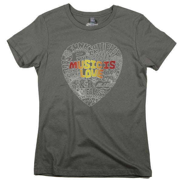 """Music Is Love"" Women's Relaxed Fit 100% Ringspun Cotton Short Sleeve Tee"