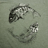 """Yin-Yang Fish"" Men's Bi-Blend Heathered Short Sleeve Tee"
