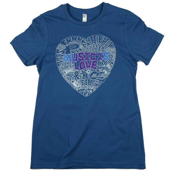 """Music Is Love"" Womens Relaxed Fit 100% ORGANIC Cotton - Made in USA"