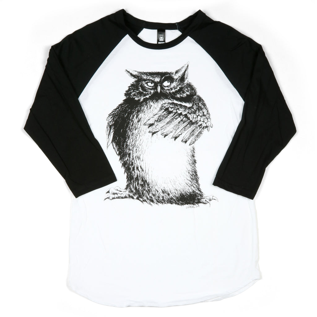 """Wise Owl"" Unisex 100% Cotton Raglan Baseball Tee"