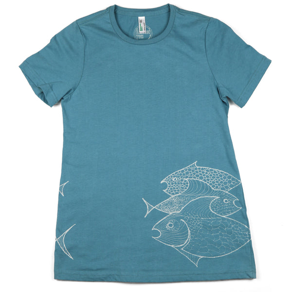 """Three Fish"" Womens Organic Cotton Short Sleeve Tee"