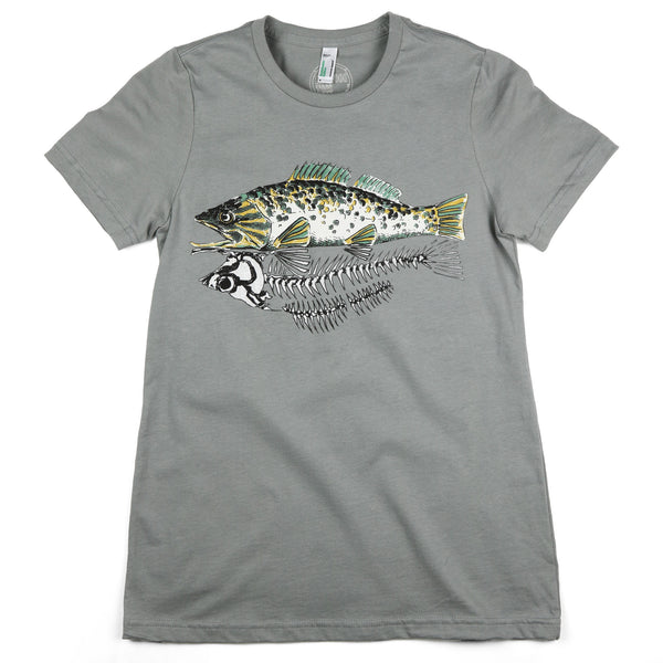 """Skeleton Fish"" Womens Organic Cotton Short Sleeve Tee"