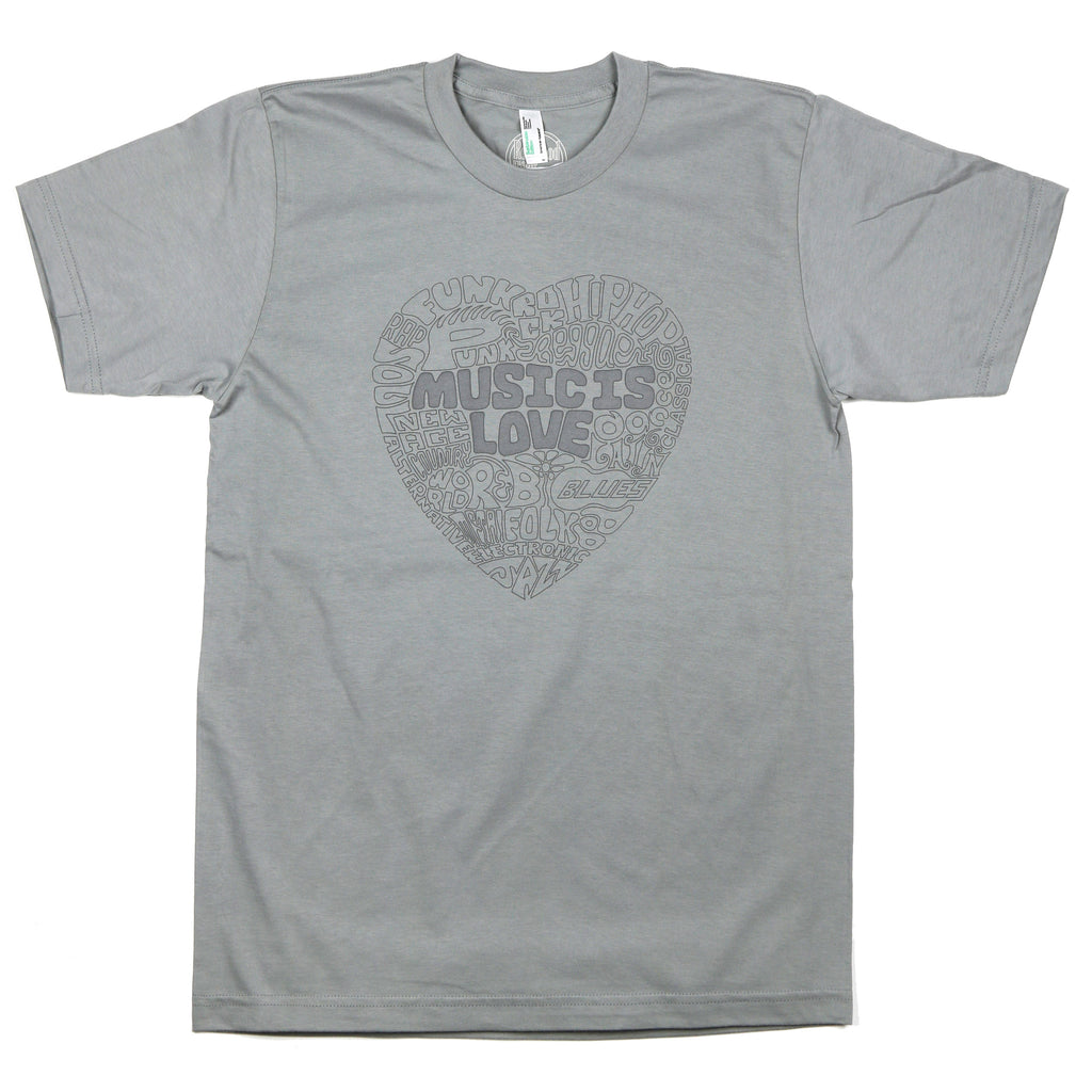 """Music Is Love"" Men's/Unisex 100% ORGANIC Cotton - Made in USA"