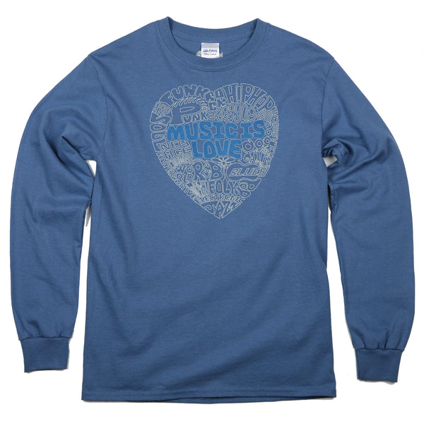 """Music Is Love"" Men's 100% Cotton Long Sleeve Tee"