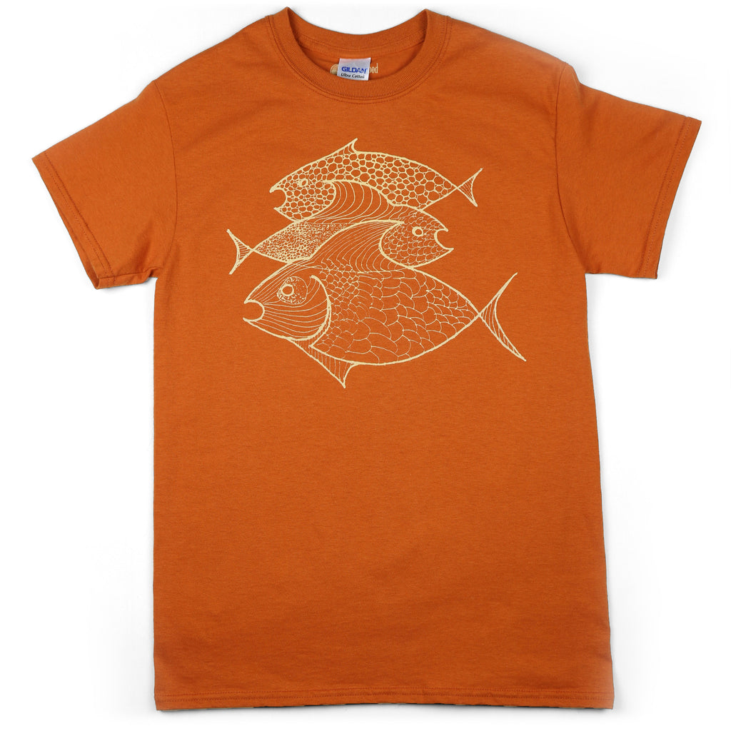 """Three Fish"" Men's 100% Cotton Short Sleeve Tee"